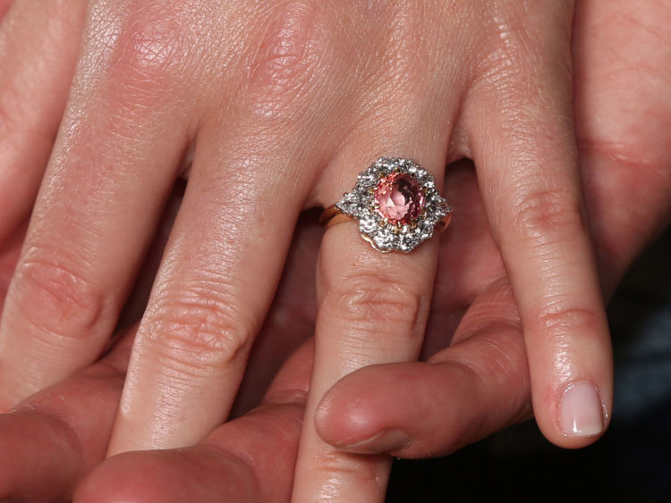 Princess Eugenie's engagement ring, set with a rare padparadscha sapphire