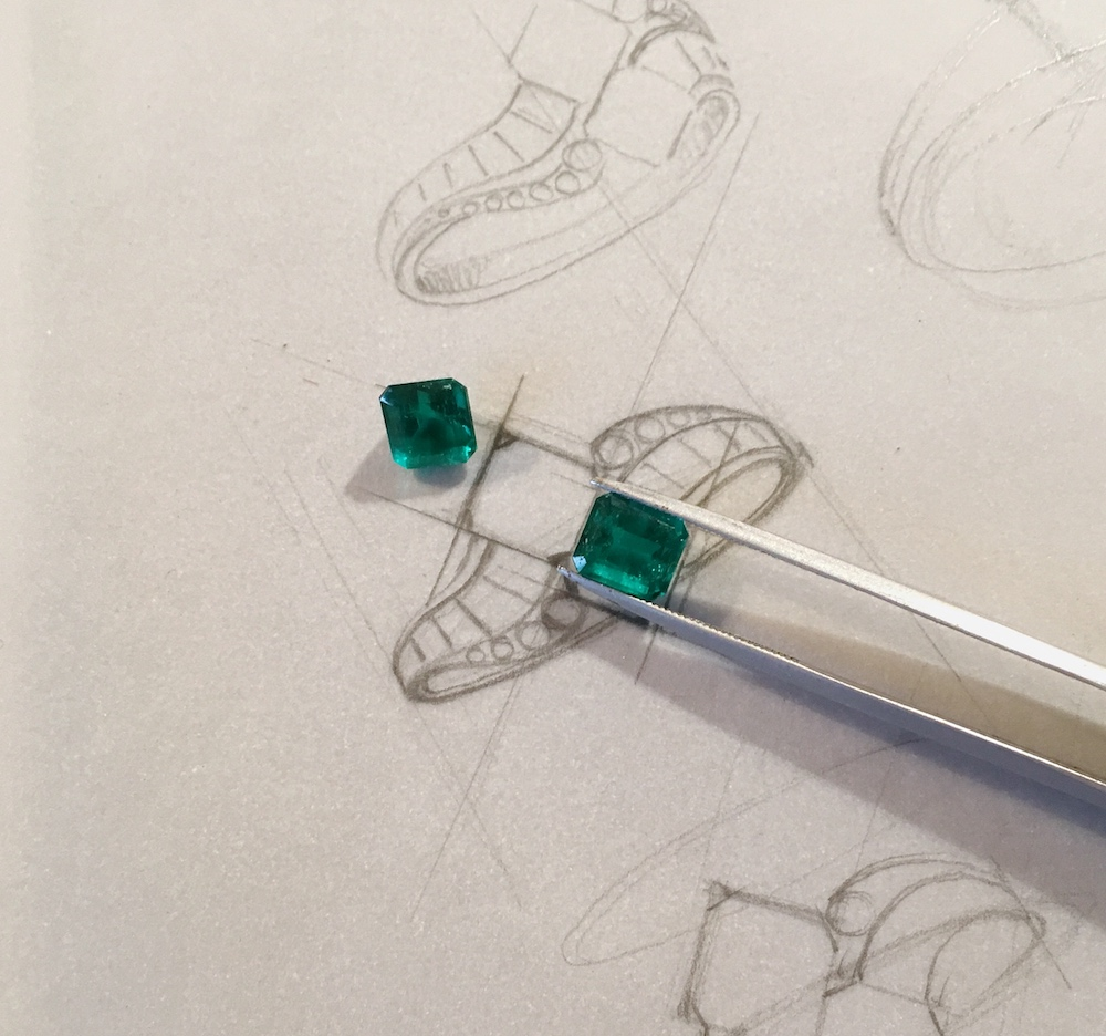 Considering the various design proposals with the two Colombian emeralds.