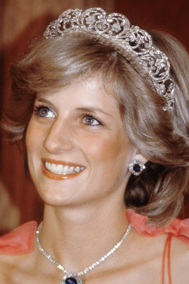 A young and as yet unfashionable Princess Diana, wearing the Spencer tiara.