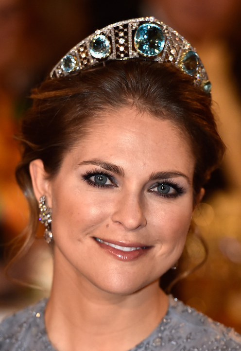 Princess Madeleine looking dignified with this aquamarine and diamond family heirloom tiara.