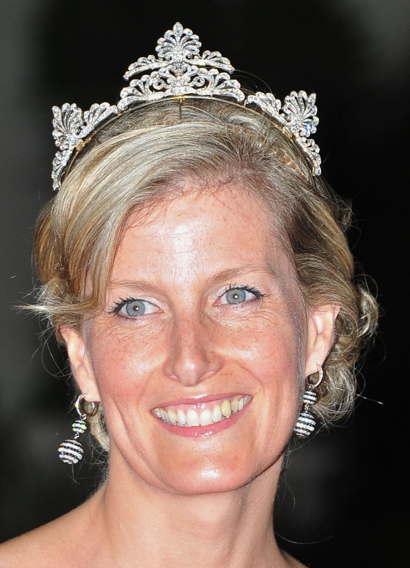 The Countess of Wessex wearing her diamond wedding tiara.