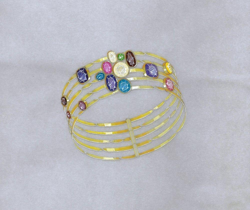 A gouache rendering for the multi colour gem cuff bracelet.