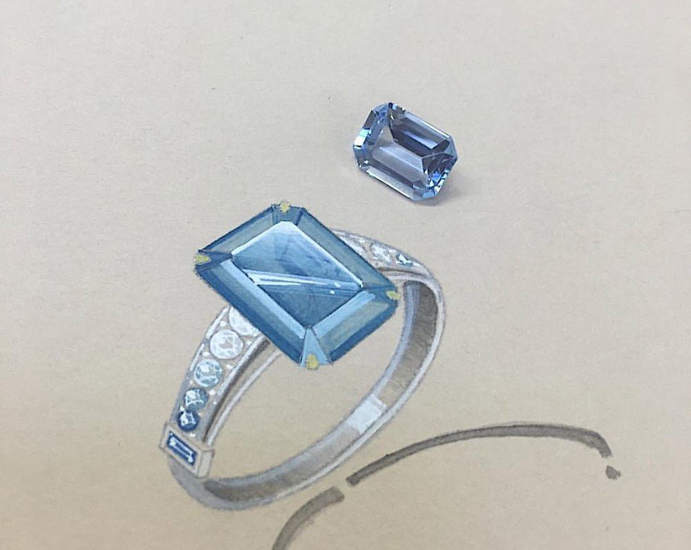The unset aquamarine with the original working drawing.