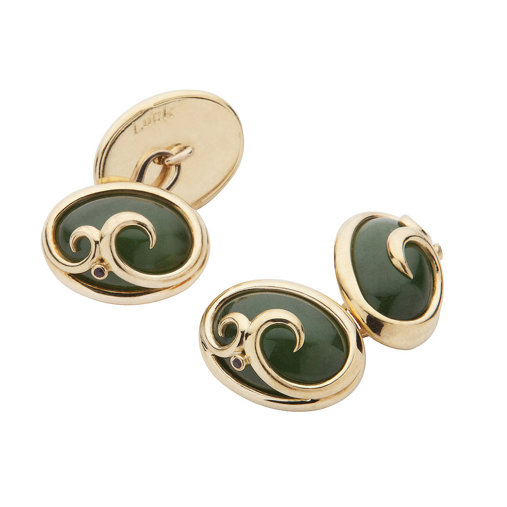 Jade, ruby and gold bespoke cufflinks.