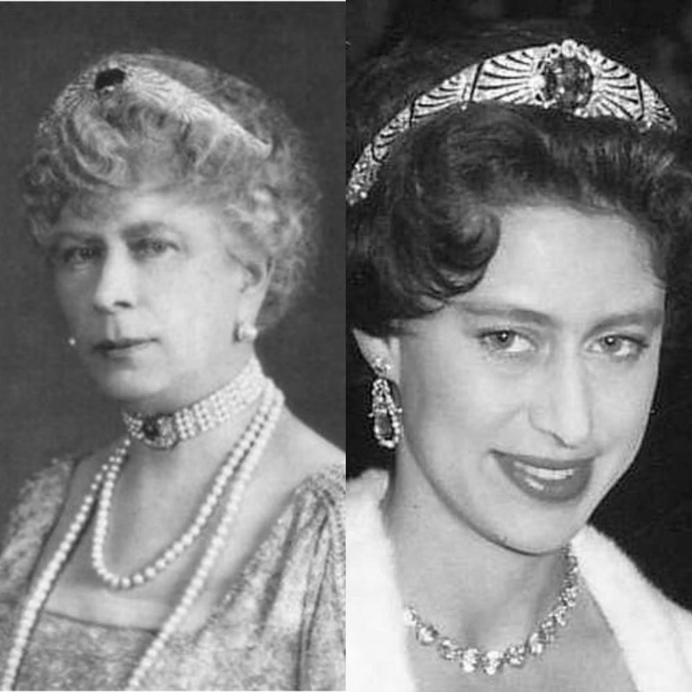 Comparative photographs of Queen Mary, and her granddaughter Princess Margaret, wearing the sapphire bandeau tiara Queen Mary bought from the heirs of Empress Marie Fedorovna.