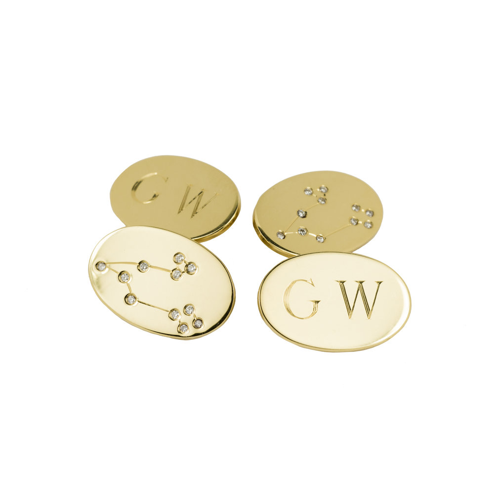 Bespoke cufflinks in 18 carat gold set with the recipient's zodiac constellation in diamonds.