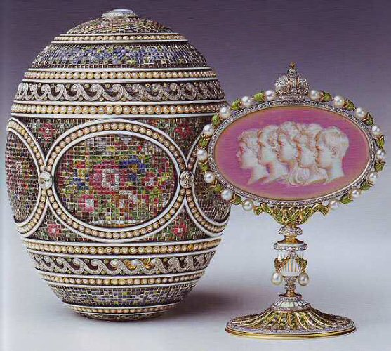 The Mosaic Egg of 1914 by Fabergé, currently on display at the Queen' Gallery in Buckingham Palace.