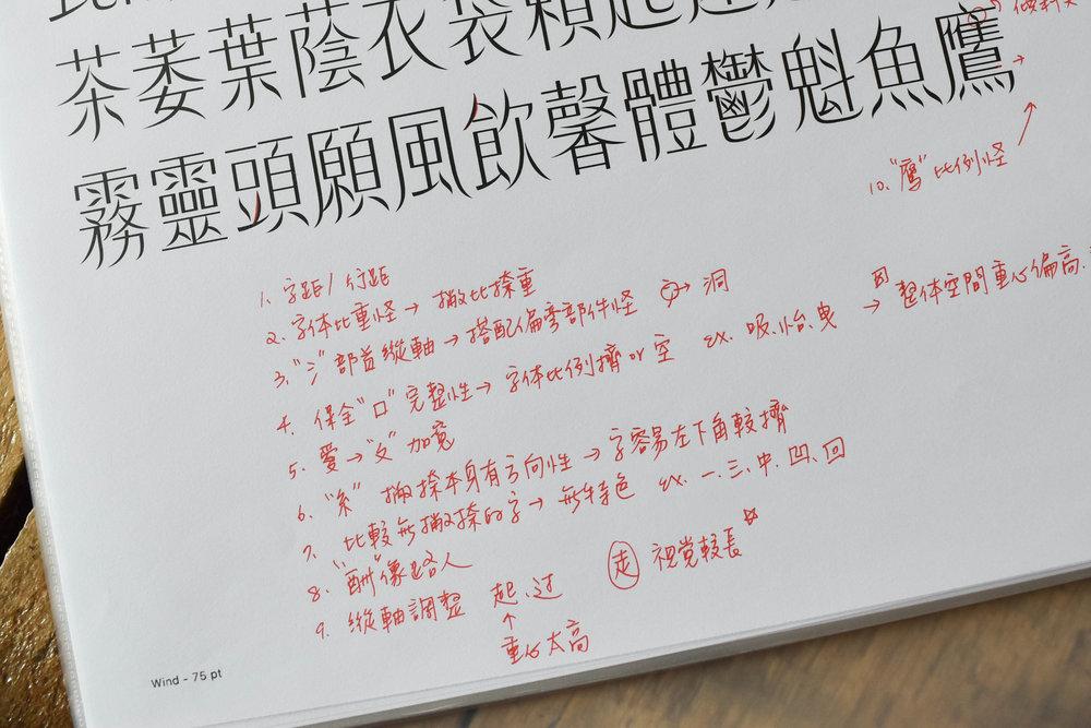 修改筆記中詳細記載著字體變化的思路過程。
