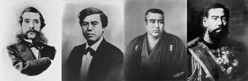 近代日本形成過程的關鍵人物:大久保利通、木戶孝允、西鄉隆盛、明治天皇(左起)©国立国会図書館