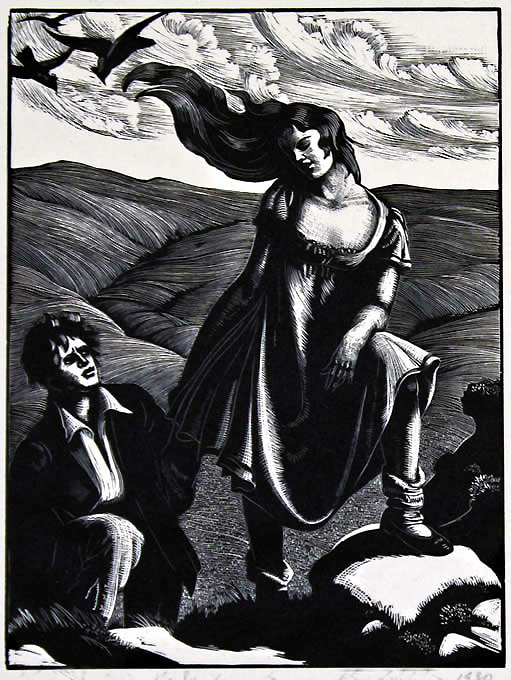 One of twelve wood-engravings for  Wuthering Heights
