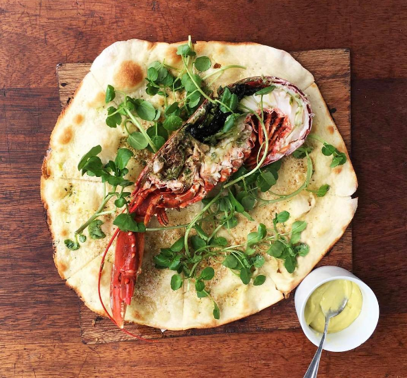 Cardigan Bay lobster on a garlic base with watercress and homemade aioli