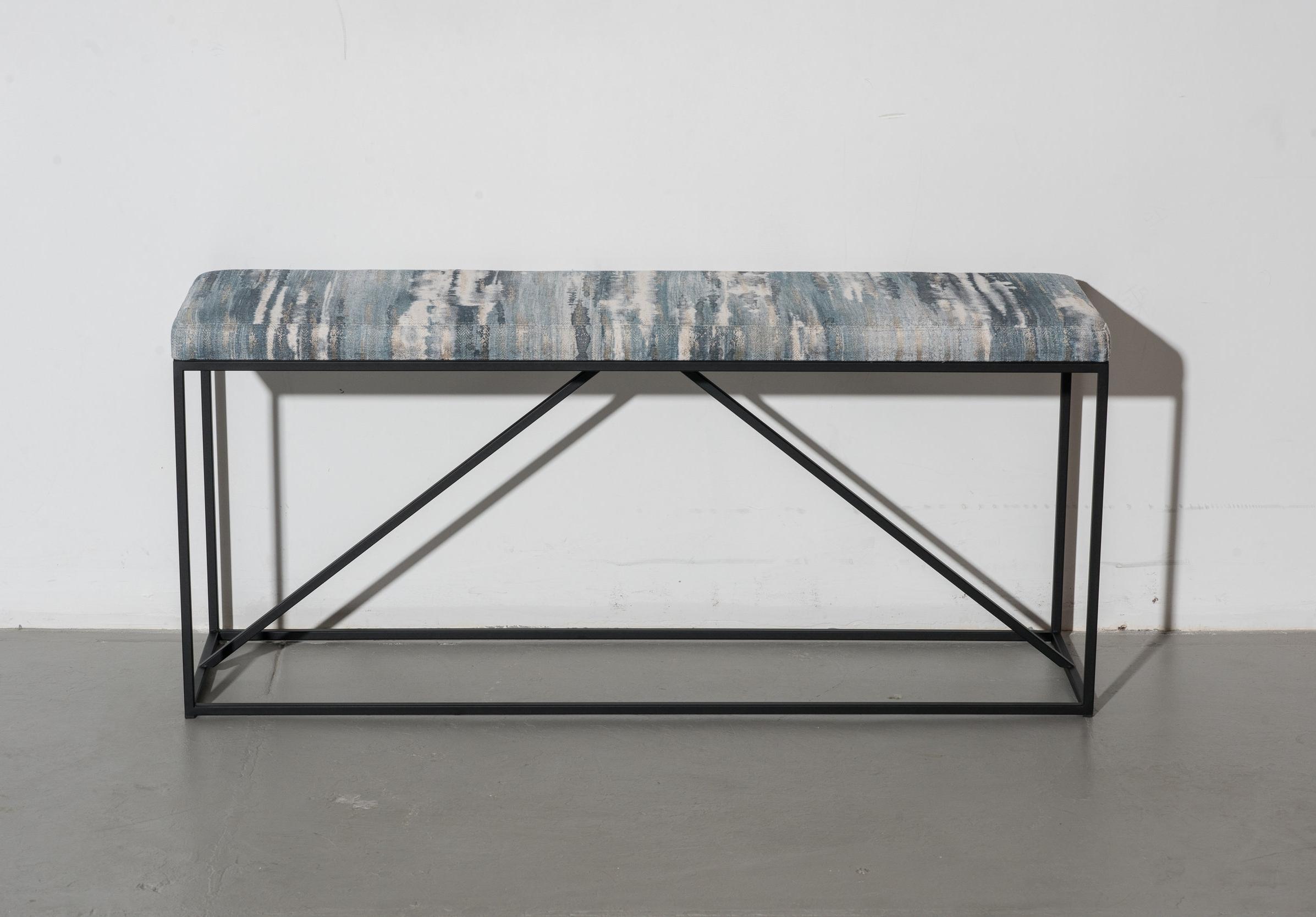 Upholstered York Bench Blue