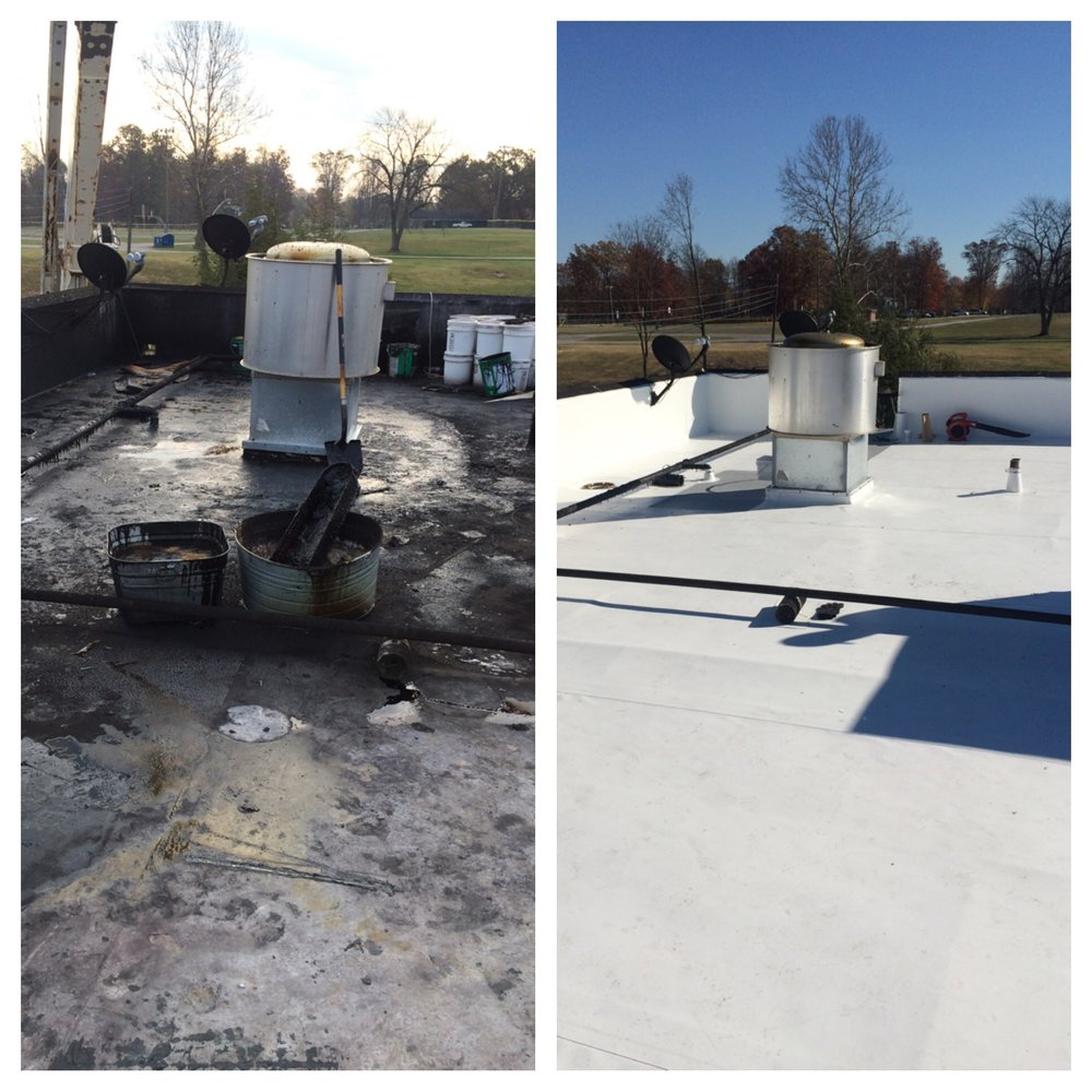 A before/after example of a full tear off and TPO roof system replacement