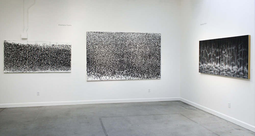 Gallery Installation,  Black & White, my pieces are It Can Be that Way & You Are So Beautiful, Slate Contemporary 2017, Oakland Ca.  Painting on far right wall by Barbara Kolo
