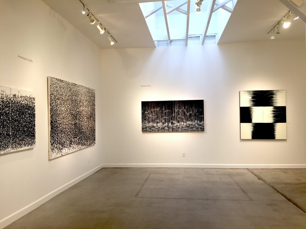 My paintings far left wall It Can Be That Way, You Are So Beautiful and paintings by artist Barbara Kolo on front wall, from the group show Black & White at Slate Contemporary Oakland Ca 2017