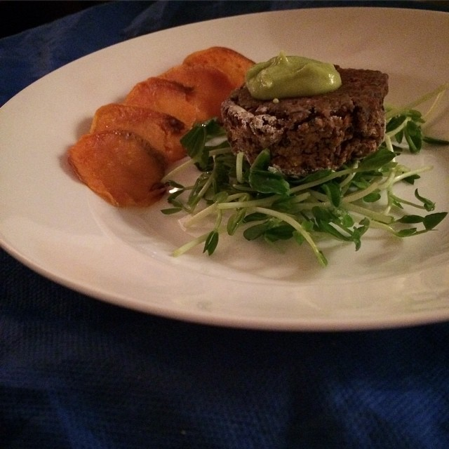 Black bean and corn #croquettes with an #avocado mousse on a bed of raw pea shoots with a side of roasted sweet potatoes #vegan #food52 #delicious