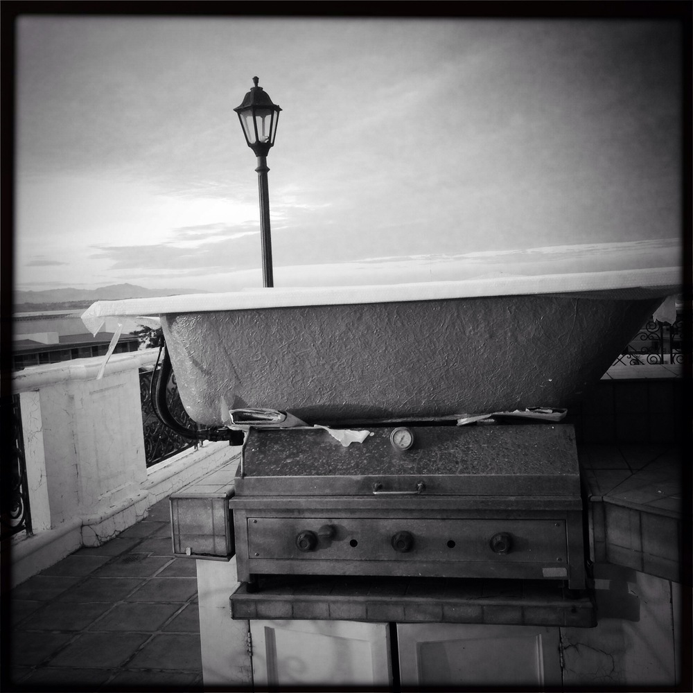 Marco's bathtub on the roof.