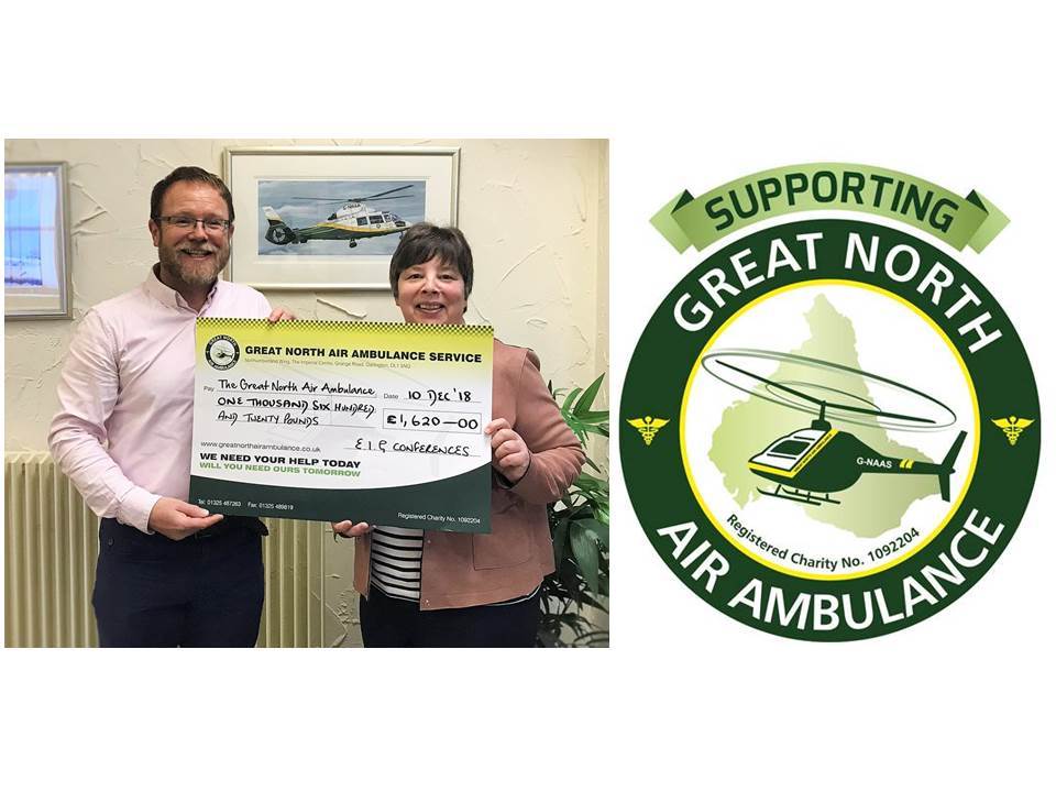 - Fundraising for the Great North Air Ambulance at the Durham Conference.The EIG Committee wish to extend their thanks to all who made donations to our designated charity during through the raffle at the conference dinner in September. The final amount raised was...... £1620, a fantastic effort for a very good cause.Paul Jennings (Charity & fundraising, EIG) is pictured presenting the cheque to GNAAS.