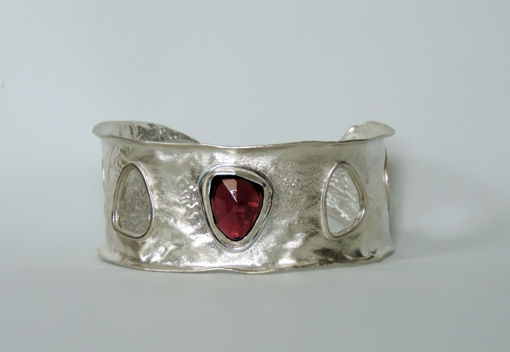 Christine Peters Reticulated Silver Cuff with Rhodolite Garnet