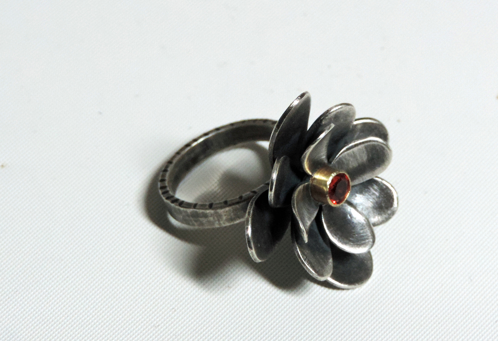 silver flower ring oxidized