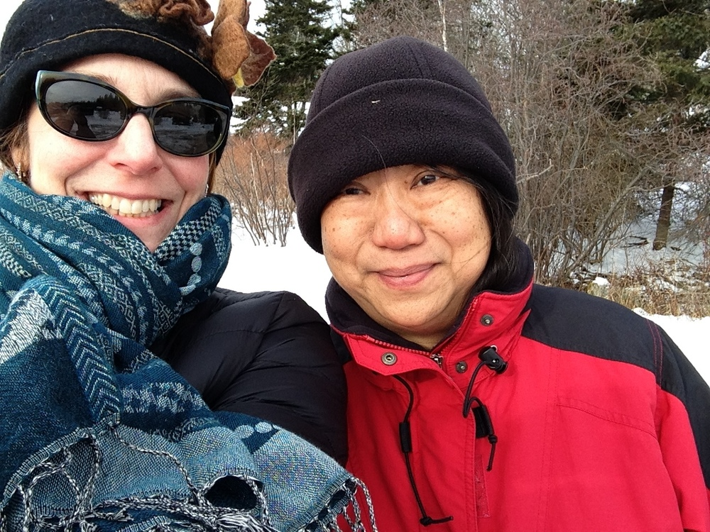 A very cold selfie in Sunset on Deer Isle while visiting my dear friend and client Rosa.