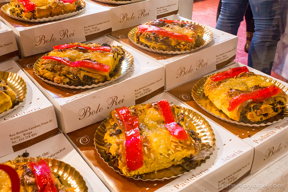 Bolo Rei is pretty similar to New Orleans' King's Cakes and is commonly seen during Christmas and Easter. Usually round, they can actually be any size and shape and tend to have a sweet roll-like texture, with candied fruit, and nuts.