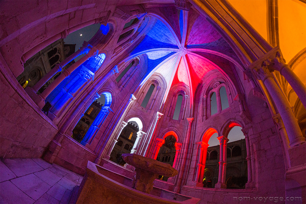 The festival took place right after the terrorist attacks in France, so the monastery was lit up at night with the colors of the French flag.