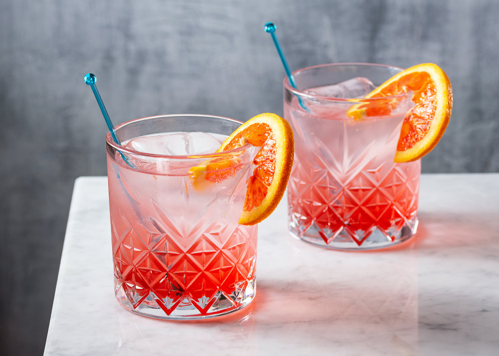 Gin and Tonic with Blood Orange Syrup
