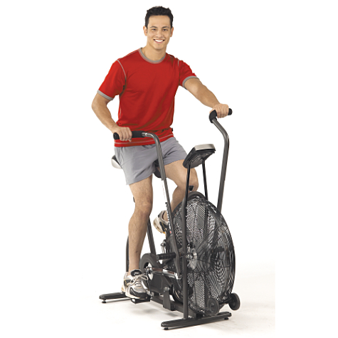 The airdyne, being modeled by a man displaying an incorrect emotion for being on the airdyne.