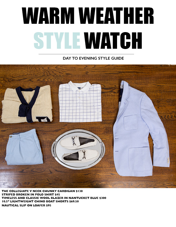 Cheat Sheet: - Pair a classic polo with a cardigan or a lightweight blazer with a classic chino short.