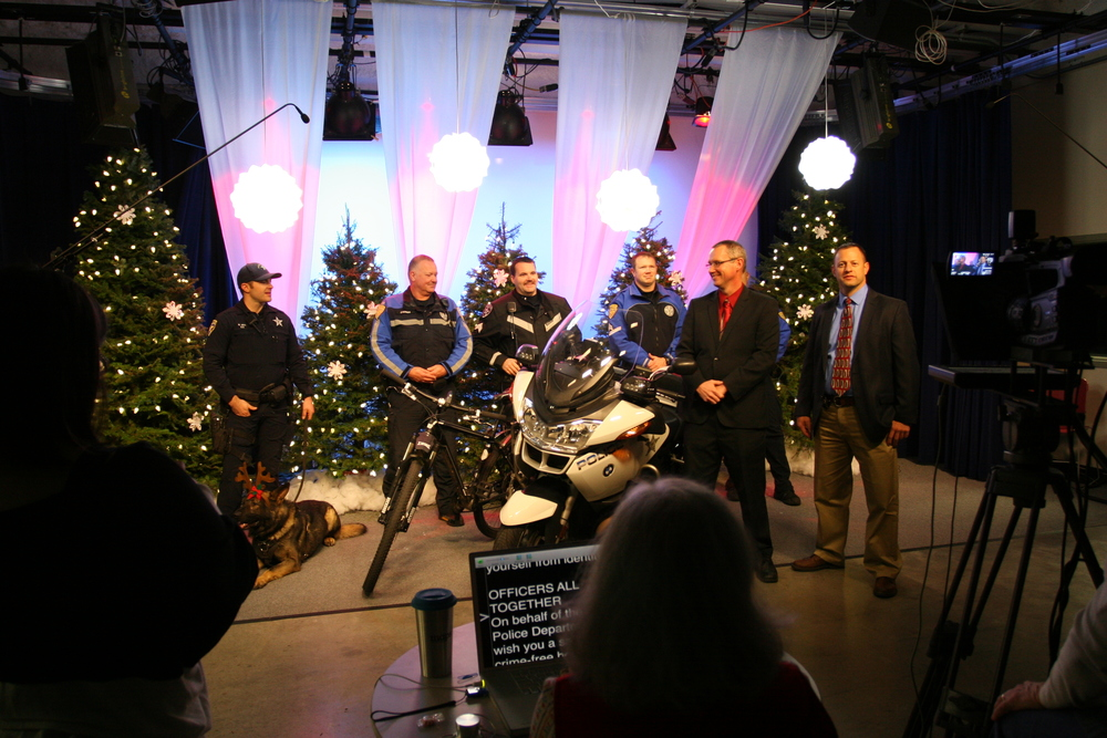 The Salem Police Department records a holiday message for the community during CCTV's annual Non-Profit Holiday Greetings event.