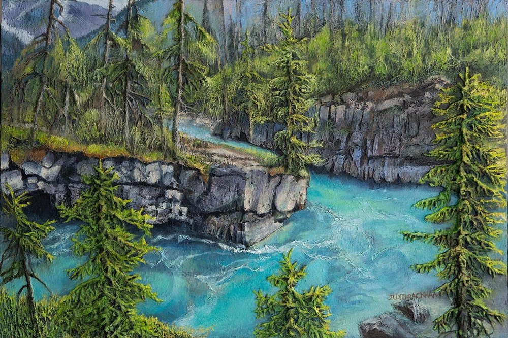 Aquamarine and Vibrant Greens  (Marble Canyon, British Columbia)  24 x 36 inches  Medium - Marble compound buildup on canvas, painted in oils.  Price: $1512.00