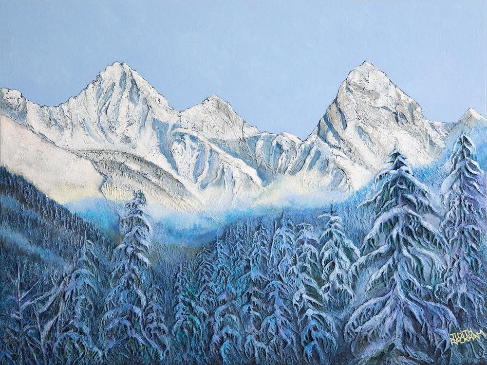 Cold Morning Cloud Ridge  (Mount Sir Donald - Rogers Pass National Park, British Columbia)  30 x 40 inches  Medium - Marble compound buildup on canvas, painted in oils.  Price : $2100.00