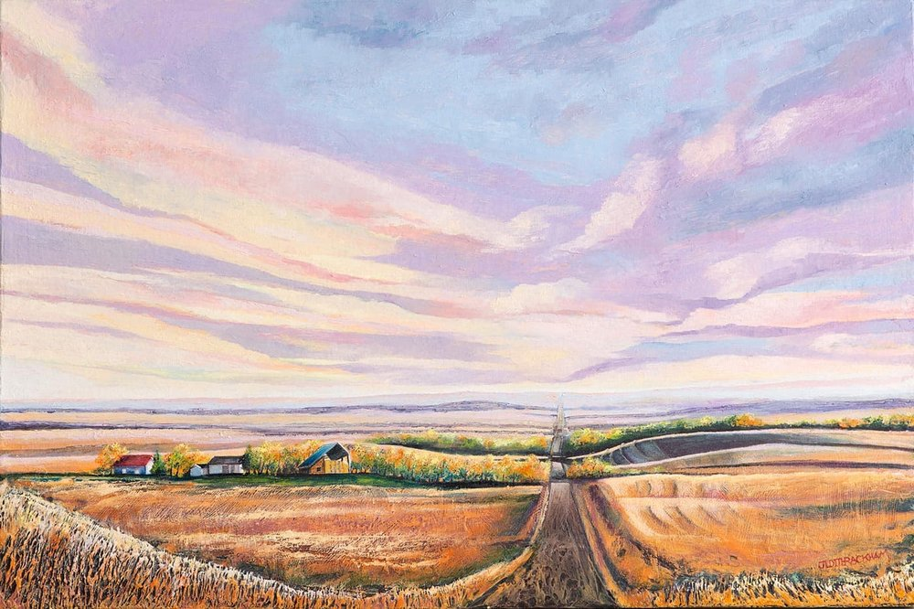 Prairie Sky - Alberta prairie scene   24 x 36 inches  Medium - Marble compound buildup on canvas, painted in oils.  Price $1512.00