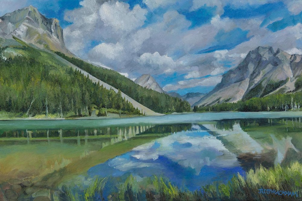 Reflective Light  (Elbow Lake - Peter Lougheed Provincial Park - Alberta)  Medium - Canvas, painted in oils.  Price $1512.00