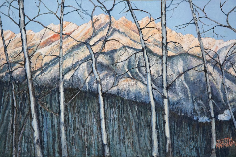 Winter Sunset  (Fairmont Ridge - Fairmont Hot Springs, British Columbia)  24 x 36 inches  Medium - Marble compound buildup on canvas, painted in oils  Price $1512.00