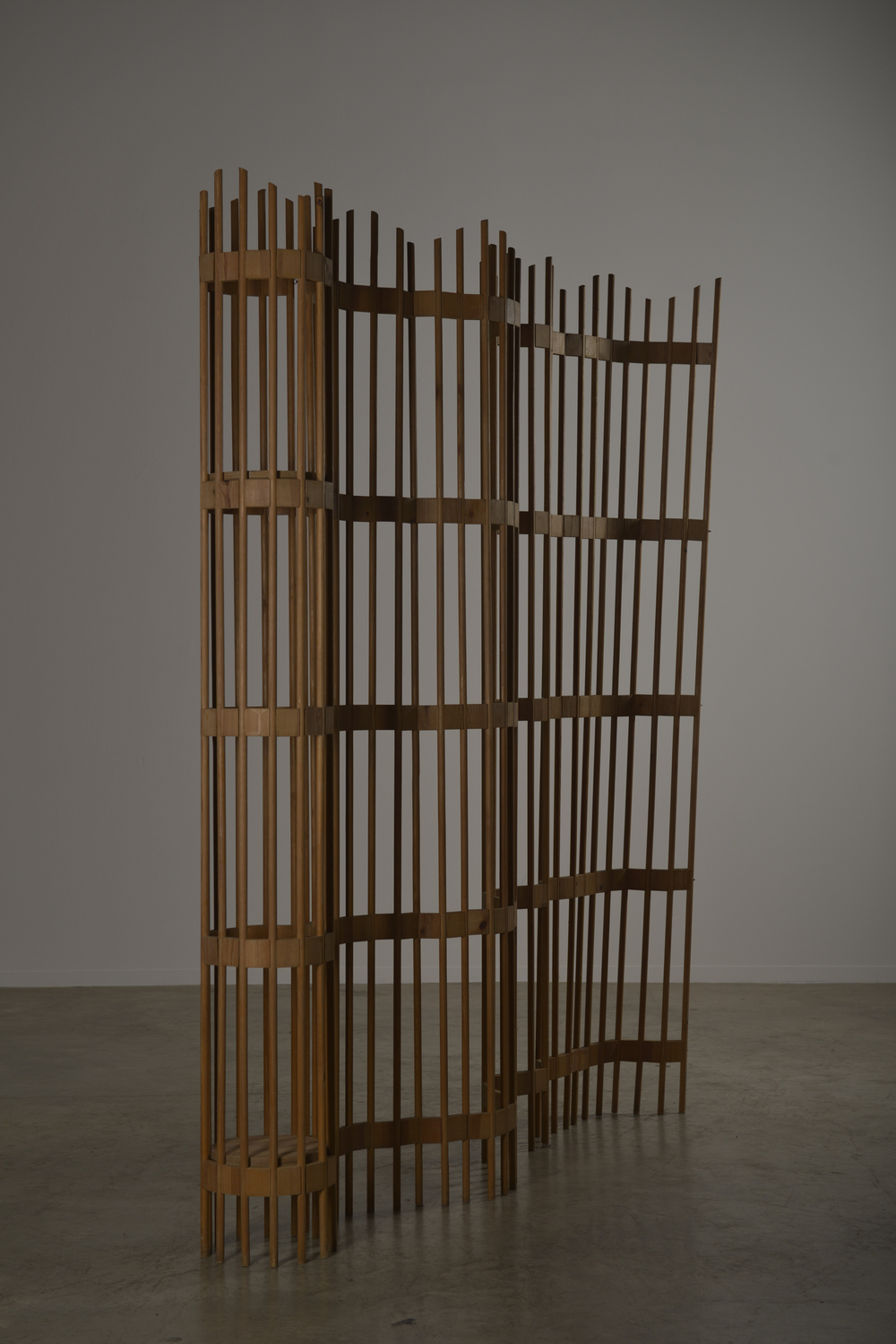 Swedish pine wood articulating room divider