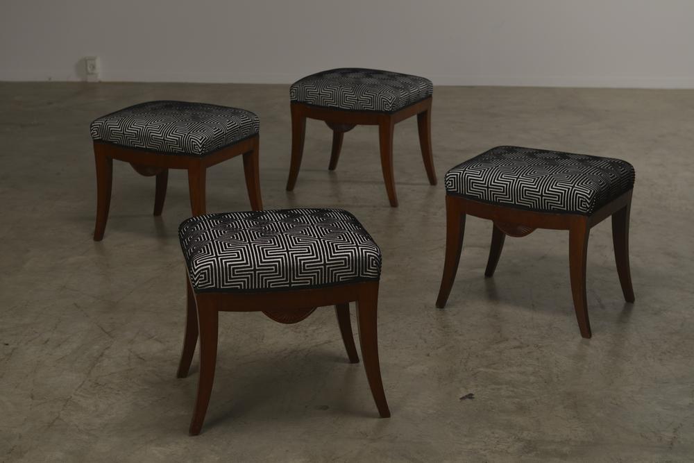 A set of four Swedish Karl Johan mahogany stools, Circa 1830