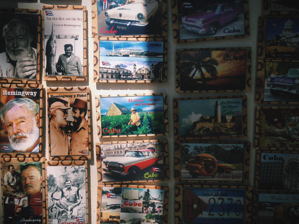 a havana giftshop offers up magnets, including one that features american novelist ernest hemingway alongside former cuban president fidel castro. photo credit: meghan dhaliwal for the alignist.