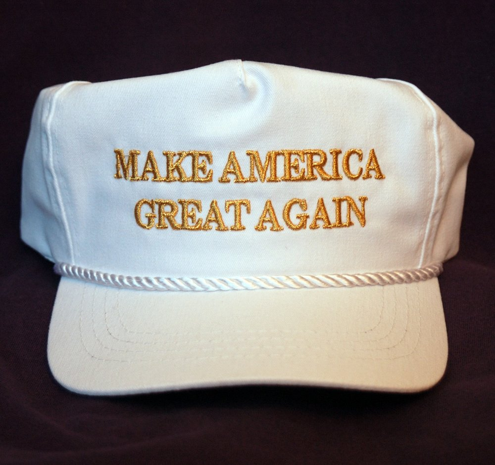 """Make America Great Again"" is Donald Trump's slogan in his 2016 presidential campaign, seen emblazoned on the official campaign hat. Image via Wikimedia Commons."