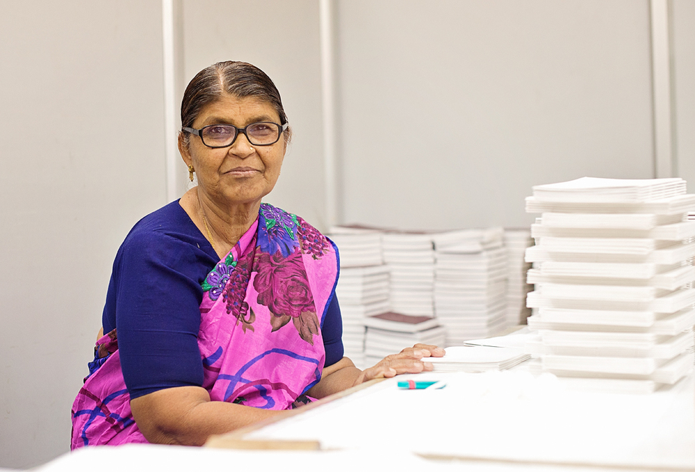 Kanta Ji is a paper craft artisan. Being uneducated, she faces many challenges, but she is proud to be able to support herself through her work.