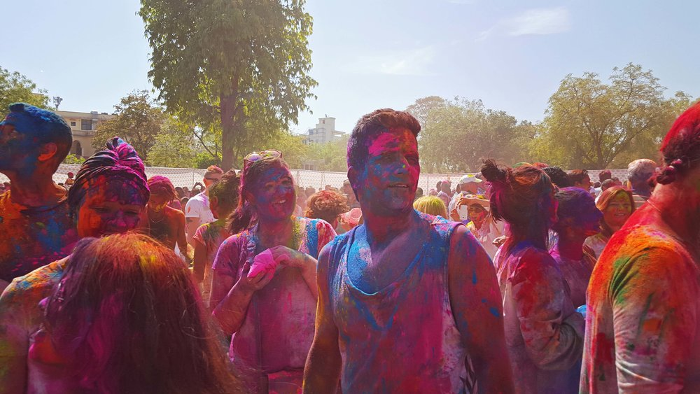 Holi festival in Jaipur, India.