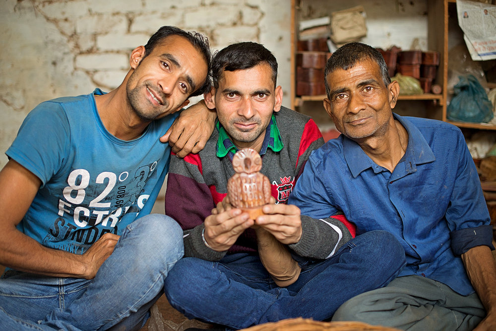 Woodcarving artisans in North Central India.