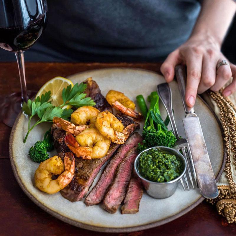 Dinner Plate Side View - White Chamois - Steak and Shrimp - DennisThePrescott.jpg
