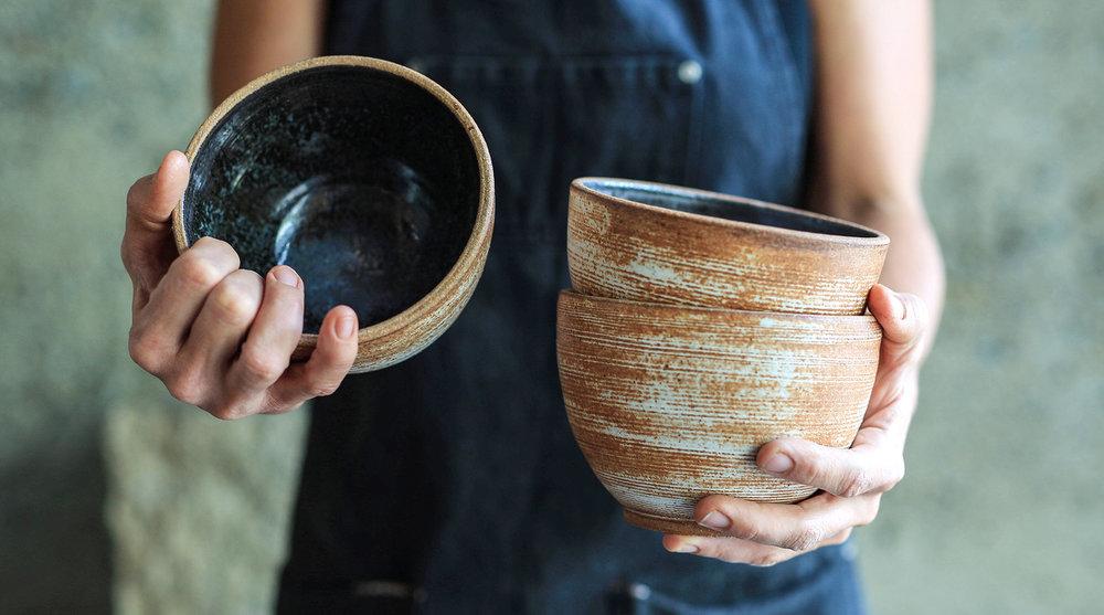 "Sierra Line 5.75"" Rice/Noodle Bowls Eelskin glaze"