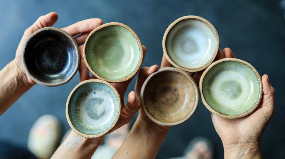 """4"""" Ramekin/Dipping Bowls (top left to bottom right) Eelskin, Moss Green, Deerskin Gloss, Moonshadow, Brown Leather Matte, Moss Green"""