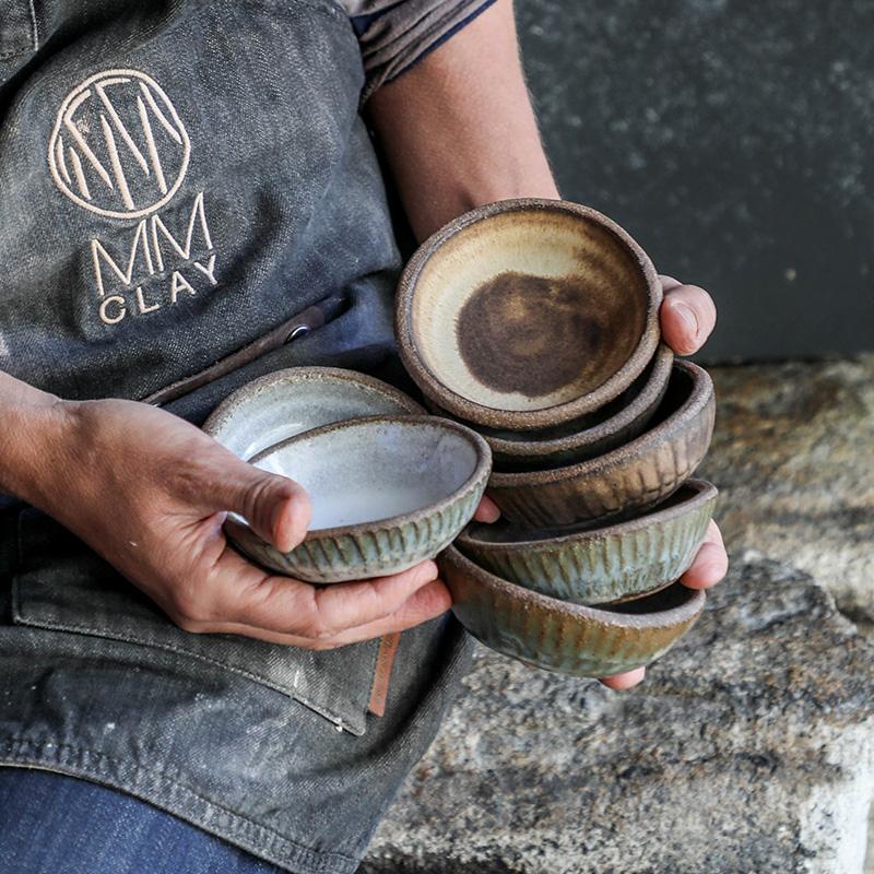 4%22 Ramekin (side view stacked held in hands) - mixed glazes - TPC 800.jpg