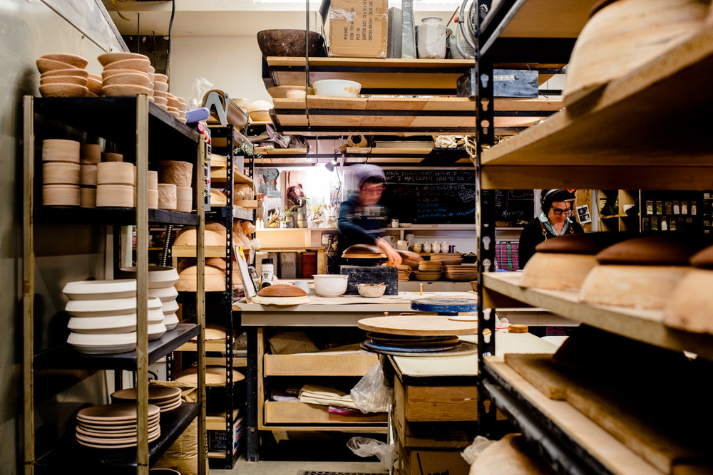 View into the MMclay Design & Production Studio in Hayes Valley, San Francisco, California