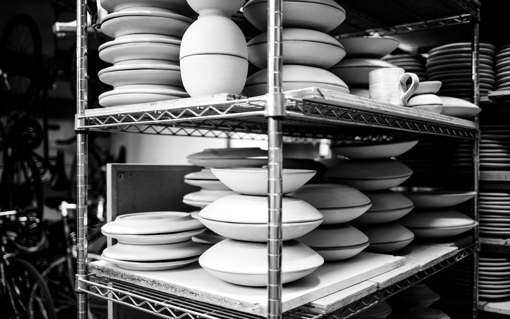 Stacked glazed ware, ready for the glaze firing