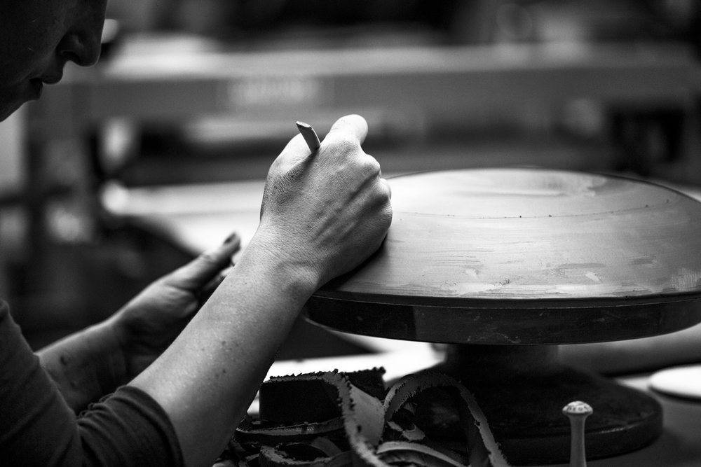 """Hand-texture added to the bottom of a 14"""" Serving Platter, The Progress Collection"""